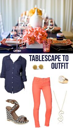 coral + navy @Shannon Bellanca Darrough this is too cute!  This is how I do my parties - Always compliment clothes and decor