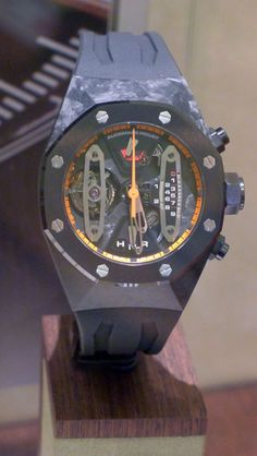 Here's a special treat. A look at a special 1 of 5 Audemars Piguet Carbon Concept Tourbillion with orange accents. I like the addition of some color on this dial. Maybe Jay needs an upgrade!!!!