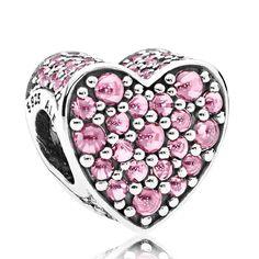 PANDORA Pink Dazzling Heart, Pink CZ Charm #jewelrypandora