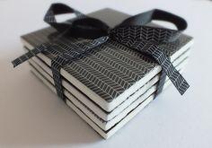 Set of 4 repurposed ceramic tile coasters - black white geometric £12.00