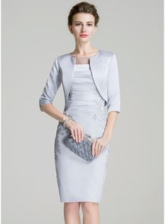 5cded48833b Sheath Column Scoop Neck Knee-Length Ruffle Appliques Lace Split Front  Zipper Up Sleeves Sleeves Yes 2016 Other Colors Spring Fall Winter General  Plus Satin ...