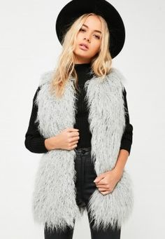 Grey Faux Fur Gilet Grey Faux Fur Gilet, Faux Fur Vests, Misguided Fashion, Fur Vest Outfits, Fur Waistcoat, Daytime Outfit, Grey Vest, Grey Fashion, Winter Wardrobe