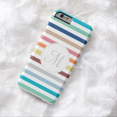Add your monogram initial to this chic striped pattern slim iPhone 6 case with preppy horizontal stripes in a stylish rainbow palette of trendy spring colors. This fresh and colorful design is sure to bring out the girly girl in women who love fashion.