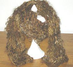 Handspun Knit Merino Art Yarn Scarf 57 L by craftycabinwoolens, $50.00