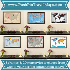 Canvas colorful world travel map with pins travel pinterest push pin travel maps are interactive wall art that help you document your past travels and gumiabroncs Image collections