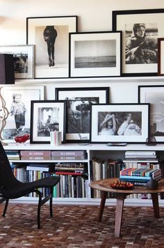 A tidy yet eclectic art display is just a short shelf away