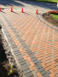 freshly finished unilock holland stone terracotta brick paver driveway in Brighton MI. Design and Creation by Frank Spiker Outdoor Patio Pavers, Diy Patio, Outdoor Landscaping, Patio Stone, Patio Ideas, Paver Stones, Pergola Patio, Stone Patio Designs, Paver Designs