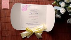 Double Petal Wedding Invitation with Ribbon Bow