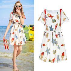 작은 스커트 여성 여름 2017 새로운 짧은 소매 드레스 허리 해변 쉬폰 드레스 단어 그룹으로 작은 신선한 MG