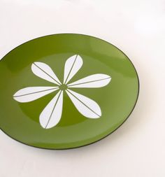 Vintage Catherine Holm Plate Avocado Green Enamelware Dinner Plate