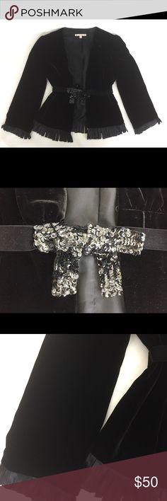Nanette Lepore Velvet Jacket w/ Satin Fringe Nanette Lepore Velvet Jacket w/ Satin Fringe (Sz 2) Nanette Lepore Jackets & Coats