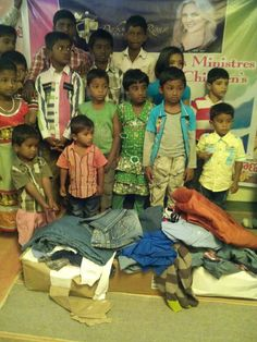 Deborah Ross Ministries donates clothing to orphans at Karuna Children's Home in India.