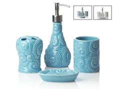 Amazon.com: Designer - 4 Piece Bathroom Accessories Set | With Soap or Lotion Dispenser, Toothbrush Holder, Tumbler and Soap Dish | Glossy Finish | Porcelain (Ocean Waves, Aqua Blue): Home & Kitchen