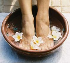 DIY detox foot soak: -2 parts Epsom Salts  -4 parts Baking Soda -1 part Sea Salt add 1/4 of mixture to about 1 gallon of warm water.  soak feet for 10-15 min.  dry feet off and rub with pure aloe.  dry feet again.