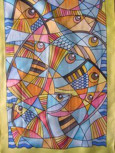 Peces, Acuarela sobre Seda, 150 x 40 cm