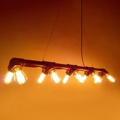 Industrial 10 Bulb Water Pipe Pendant Light. Retro Warehouse Loft Inspired. #60W #black #ceiling-light