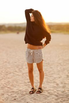 turtleneck and stripe shorts with birkenstocks