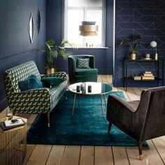 Art Deco Salon in Duck Blue Tones - Vintage Brazil: new chic and offbeat decor – Clem Around The Corner superb living room living roo - Salon Art Deco, Arte Art Deco, Estilo Art Deco, Art Deco Home, Art Deco Decor, Art Deco Style, Interiores Art Deco, Art Deco Living Room, Living Room Green