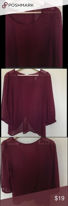 Pins and Needles Anthro blouse Wine/burgundy Pins and needles Anthro blouse. 3/4 buttoned sleeves. Open low back. Looks perfect with a cami underneath! *Bundle 2 or more items & Save 20%* Urban Outfitters Tops Blouses