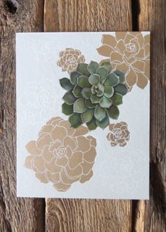 SALE Green and Gold Succulents 8x10 Illustration by seedlingshop, $55.00