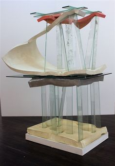 """Dave Hardy Untitled, 2013, glass, cement, polyurethane foam, paint, tape, 77"""" x 64"""" x 32"""""""