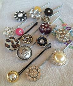 bobby pins  made with fancy buttons