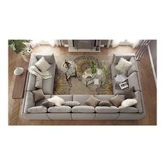 Oh man, am I in love!  Moda Sectional Sofa, Cosmo Rug by Crate and Barrel
