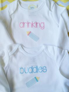 FREE SHIPPING // Drinking Buddies Twin Onesie by TinyGoldenArrows, $28.00