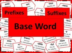 Prefixes and Suffixes Poster Set - RED - This set of posters can by utilized in many ways. One of the most effective ways is to display the posters on the wall above something such as a white board after introducing each affix. Thus the students have a resource they can see and use daily. This packet includes the following: 2 baseword posters (2 pages wide each so needs assembling) 2 Prefix title posters 20 prefix posters 2 Suffix title posters 22 suffix posters 2 blank extra posters
