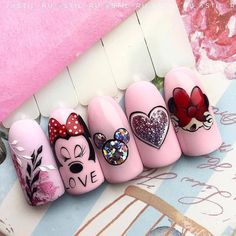 Disney Acrylic Nails, Best Acrylic Nails, Acrylic Nail Designs, Mickey Nails, Minnie Mouse Nails, Cute Nail Art, Cute Nails, Nail Art Dessin, Valentine Nail Art