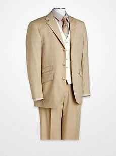Men's Suits - Steve Harvey Tan Windowpane Vested Suit - K Fashion Superstore Big Man Suits, Mens Suits, Designer Clothes For Men, Designer Clothing, Men's Clothing, Steve Harvey Suits, Men Formal, Formal Wear, Suit Fashion