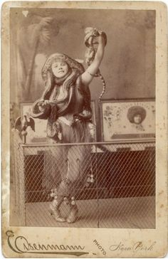ca. 1880-90s, [cabinet card portrait of snake charmer Lulu Lataska], Charles Eisenmann via the Syracuse University Library, Ronald G. Becker Collection of Charles Eisenmann Photographs