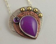 Purple Jade Pendant - Mixed Metal Necklace - Artisan Copper Jewelry