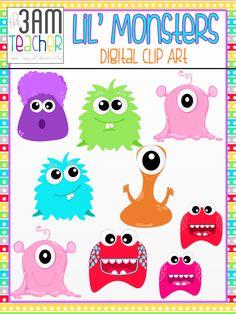 Cute Lil' Monsters Clip Art Set!! $