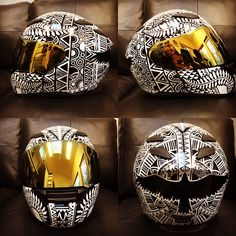 Helmet black and white design. Custom motorcycle helmet by  Brandon Stieg. SalvageArtGarden.com