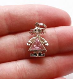 Vintage STERLING SILVER 925 Pink Stone Girl Pendant by paststore on Etsy