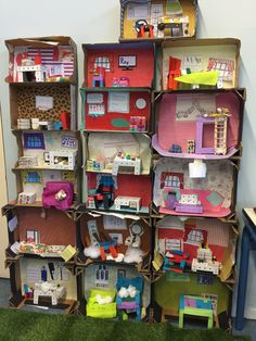 Cardboard Dollhouse Cardboard Toys Diy Dollhouse Creative Teaching Creative Kids Teaching Art Compass Art Kids Doll House Diy Y Manualidades Cardboard City, Cardboard Dollhouse, Cardboard Crafts, Paper Crafts, Shoebox Crafts, Diy Crafts To Sell, Diy Crafts For Kids, Projects For Kids, Home Crafts