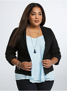 """<p>Who knew dressing for work could be so easy? This desk-to-happy-hour black blazer is constructed with our lightweight deluxe stretch material. Structured and sculpted, check out the flattering draped front and playful ruched sleeves. Faux pockets.</p>  <p></p>  <p><b>Model is 5'10"""", size 1</b></p>  <ul> <li>Size 1 measures 26 1/2"""" from shoulder</li> <li>Rayon/nylon/spandex</li> <li>Wash cold, line dry</li> <li>Imported plus size blazer</li> </ul>"""