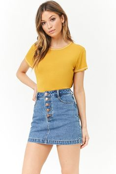A denim mini skirt featuring a five pocket construction, embroidered rainbow stripes on back pockets, and an exposed button fly. Jean Skirt Outfits, Casual Skirt Outfits, Denim Outfit, Girl Outfits, Cute Outfits, Fashion Outfits, Junior Outfits, Summer Outfits, Girls In Mini Skirts