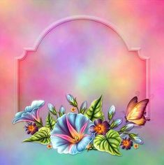 Moonbeam's Glorious Morning - is delicately crafted with painted Morning Glories, curled leaves, buds & butterflies on canvas of soft blending hues. Frame Background, Paper Background, Photomontage, Flower Frame, Flower Art, Minnie Png, Birthday Frames, Frame Clipart, Borders And Frames