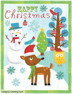 Greeting Cards | Julissa Mora. Christmas, Happy, Holiday, Winter, Deer, Snowman, Owl, Licensing.