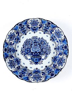Antique Delft Ceramic Handpainted Platter