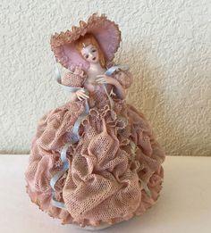 Original California Heirlooms of Tomorrow Dresden Lace Figurine NADINE Pink