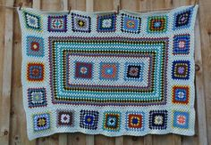Vtg Handmade Crochet GRANNY SQUARES Afghan Blanket Throw Couch 70x53 Colorful