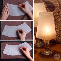 creatief besparen en meer: lampenkapje op glas