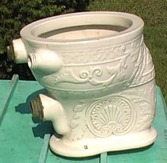 Very fancy porcelain toilet dating from the Victorian Toilet, Victorian Life, Victorian Bathroom, Victorian Homes, Blue Bathrooms, Porcelain, Toilets, Tubs, Sinks