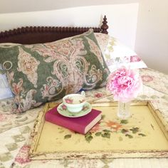 Find the big boho damask cushion cover in green (washed denim back panel!) on my Etsy shop!  Just about everything else in the picture is vintage too, from the tea cup, the tray, the bed and the old cloth bound novel from a 1910's Muskoka cottage-all still lovely and treasured today! Retro Fabric, Washed Denim, Boho Look, Throw Cushions, Pillow Talk, Tea Cup, Damask, Pillow Covers, My Etsy Shop