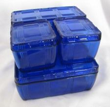 RARE Set Hazel Atlas COBALT BLUE Criss Cross Refrigerator Dish Depression Glass. Would kill to own.