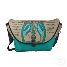 """Arts and Crafts Cranes (Personalized) - Unique, eye-catching messenger bag features an adaptation of a Charles Voysey's designs when Arts & Crafts evolved into Art Nouveau. Graceful blue & aqua cranes, red blossoms & emerald green stems forming a celtic inspired nest on a khaki background. Quotation by William Morris. Inscribed on bottom """"Custom Made for: (2 text fields for your name)"""" See all your options @ www.zazzle.com/icondoit+bags+gifts?rf=238155573613991097&tc=pnt"""