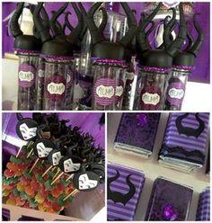 Doces com embalagens personalizadas para tema de festa infantil Malevola